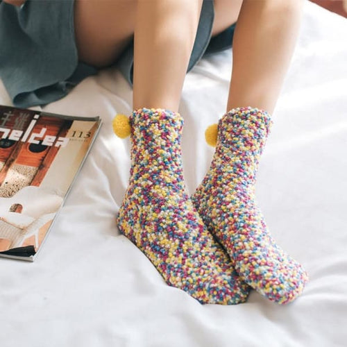 Thick Knitted Thermal Socks With Pom Pom - socks