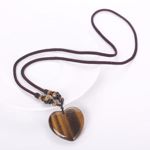 Tiger Eye Heart Necklace - Necklace