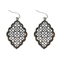 Load image into Gallery viewer, Two Tone Dangle Moroccan Earrings - E3013 Black - earrings