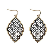 Load image into Gallery viewer, Two Tone Dangle Moroccan Earrings - E3013 Gold Black - earrings
