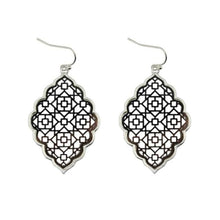 Load image into Gallery viewer, Two Tone Dangle Moroccan Earrings - E3013 Silver Black - earrings