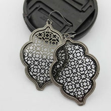 Load image into Gallery viewer, Two Tone Dangle Moroccan Earrings - E3014 Black - earrings