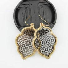 Load image into Gallery viewer, Two Tone Dangle Moroccan Earrings - E3014 Gold Black - earrings