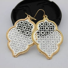 Load image into Gallery viewer, Two Tone Dangle Moroccan Earrings - E3014 Gold Silver - earrings