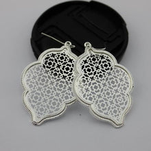 Load image into Gallery viewer, Two Tone Dangle Moroccan Earrings - E3014 Silver - earrings