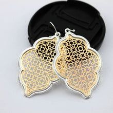 Load image into Gallery viewer, Two Tone Dangle Moroccan Earrings - E3014 Silver Gold - earrings