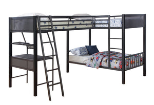Twin Over Twin plus Twin Bunk Bed WITH Loft Add On by Coaster 460390 460392