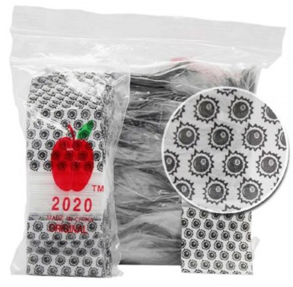Bulk Lot Apple Baggies 8 Ball Design 1000pcs, Apple Mini Ziplock Bags,Cheeky Ninjas