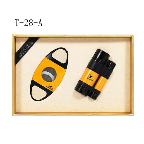 COHIBA Windproof 3 Torch Jet Flame cigar lighter set
