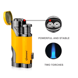 Cigar Torch Butane Lighters Fuel Refillable Lighter with Punch Cutter and Set 2 Jet Strong Flame Windproof