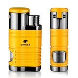 Cigar Lighter 4 Torch Jet Flame Refillable With Punch Portable Lighter