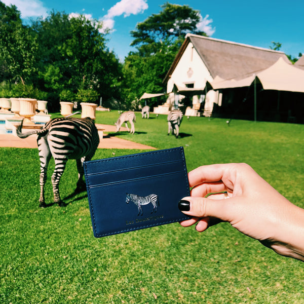leather card holder zebra