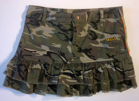 Camo Ruffled Skirt with Reggae Side Stripes