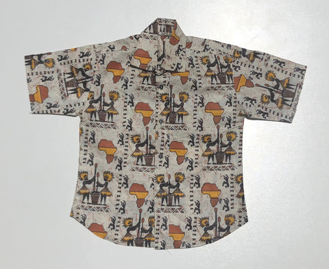 100% Cotton Kids African Short Sleeve Button-Down