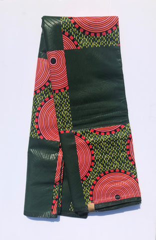 Green & Red waxed African Fabric