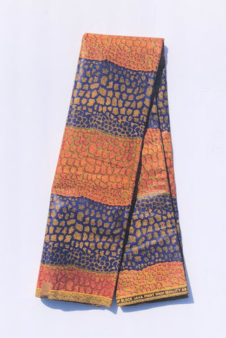 Blue & Orange Giraffe print African Fabric