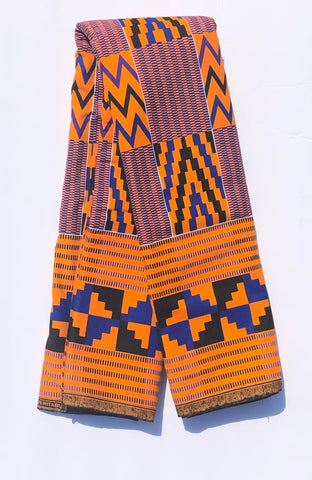 Purple, Black, & Orange Zig Zag African Fabric