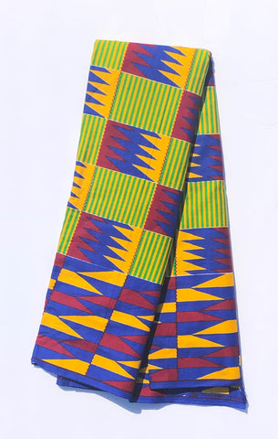 Green Yellow & Blue striped African Fabric