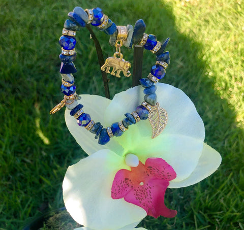 Peace-filled Charm Bracelet w/ Good Luck Elephant, Lucky Leaf & Peace sign