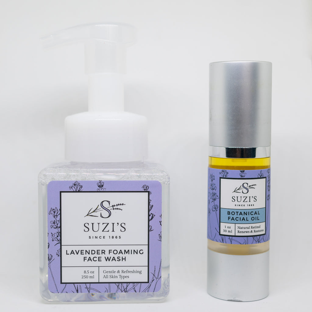 Facial oil with retinol and gentle foaming face wash double cleanse kit - Suzi's Lavender