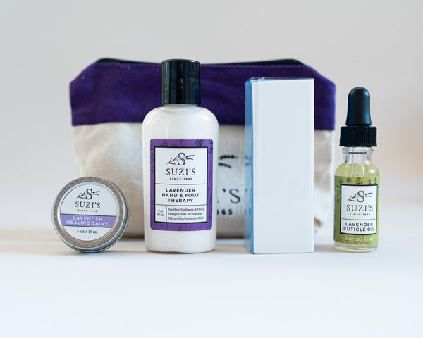 Hand Therapy Kit for dry cracked hands Lavender Cuticle Oil  Lotion Healing Salve buffer - Suzi's Lavender