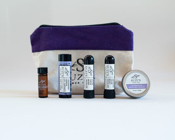 Travel Kit With lavender Lotion Lip Balm essential oil  aromatherapy inhalers and Healing Salve - Suzi's Lavender