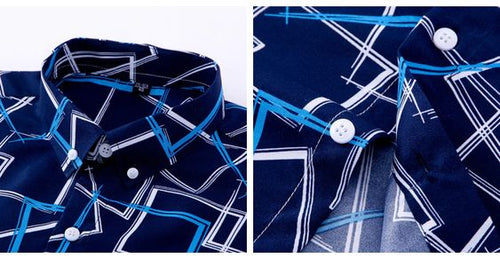 Camisa estampada AzulO/AzulC slim fit