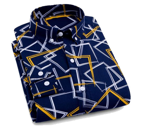Camisa Estampada Azul/Amarillo slim fit