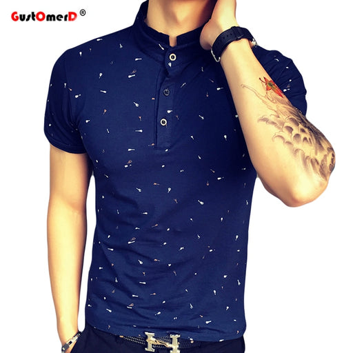 09930915 Summer Guitar Printed Stand Collar Polo Shirt Men Short Sleeve Casual Men  Shirts Slim Fit Polo