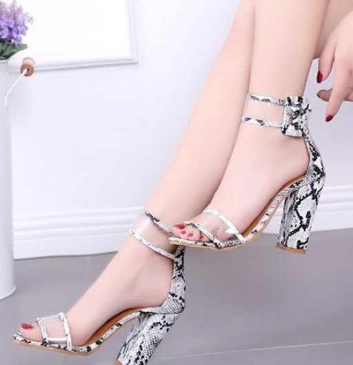 3d508c61b Thick and open toe sandals explosion models new openwork buckle high heel