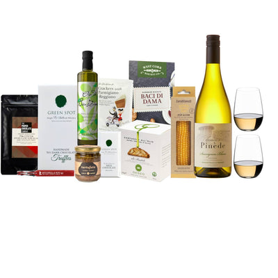 Wine & Riedel O Series Gift Hamper | Chemin de la Pinede Sauvignon Blanc & O Series Riesling Sauvignon set of two with a selection of sweet and savoury delights