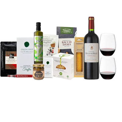 Wine & Riedel O Series Gift Hamper | Chateau Moulin de Mallet & O Cabernet set of two with a selection of sweet and savoury delights