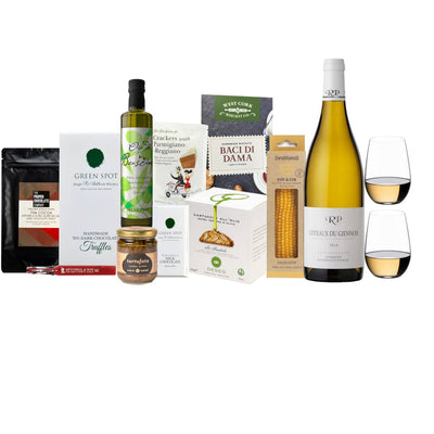Wine & Riedel O Series Gift Hamper | Raimbault-Pineau Coteaux du Giennois & O Series Riesling Sauvignon set of two with a selection of sweet and savoury delights