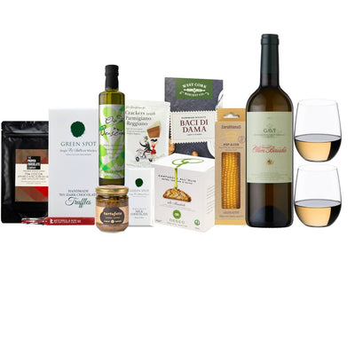 Wine & Riedel O Series Gift Hamper | Olim Bauda Gavi & O Series Chablis/Viognier set of two with a selection of sweet and savoury delights