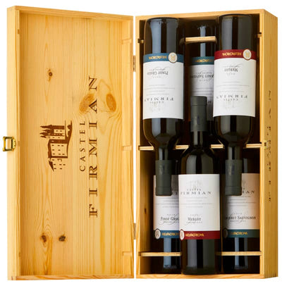 The Italian Six Wine Gift Set containing 2 bottles each of Castel Firmian Merlot, Cabernet Sauvignon and Pinot Grigio in a wooden gift box