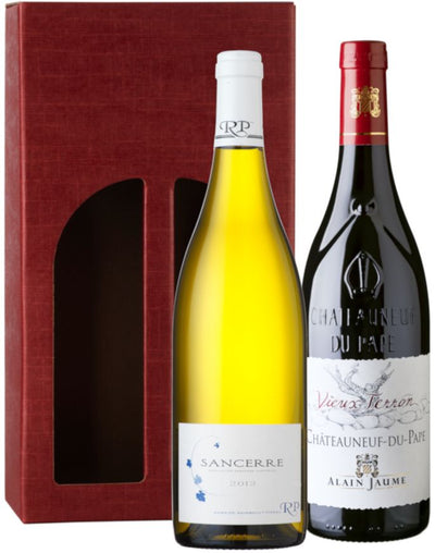 CHQ Classic Wine Gift: Alain Jaume Chateauneuf-du-Pape & Raimbault-Pineau Sancerre in red gift carton