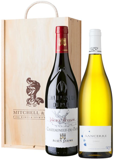 CHQ Classic Wine Gift: Alain Jaume Chateauneuf-du-Pape & Raimbault-Pineau Sancerre in wooden box