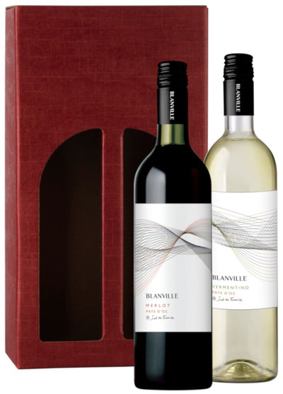 The Sunny South Wine Gift: Blanville Merlot & Vermentino in red carton
