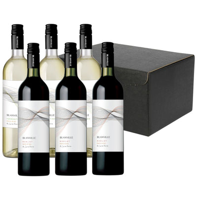 The Sunny South Wine Gift: Blanville Merlot & Vermentino in 6 bottle hamper carton