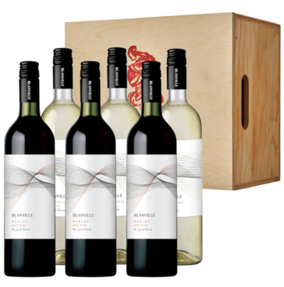 The Sunny South Wine Gift: Blanville Merlot & Vermentino in 6 bottle wooden box