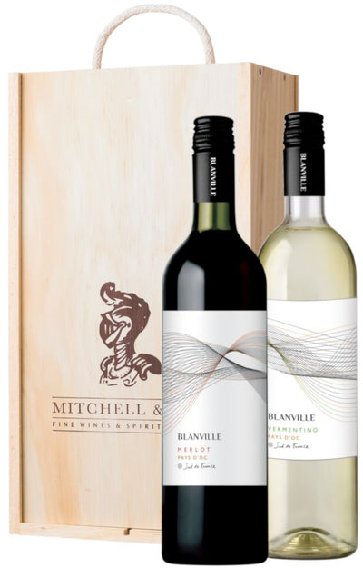 The Sunny South Wine Gift: Blanville Merlot & Vermentino in wooden box