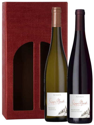 Al-Sassy! Sipp Mack Riesling & Pinot Noir Wine Gift Set in red gift carton