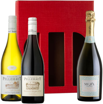 Red, White & Fizz Wine Gift Set containing 1 bottle each of Pellehaut white, Pellehaut red and Mezza di Mezzacorona in a red gift carton