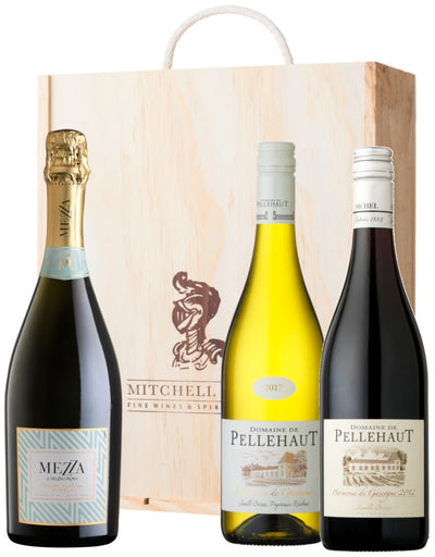 Red, White & Fizz Wine Gift Set containing 1 bottle each of Pellehaut white, Pellehaut red and Mezza di Mezzacorona in a wooden gift box