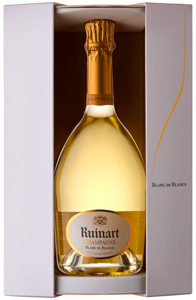 Ruinart Blanc de Blancs Non-Vintage Champagne bottle in presentation box
