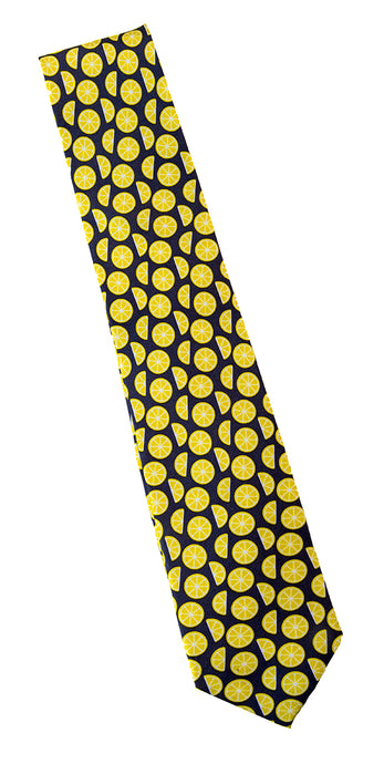 Silk Lemon Print Necktie