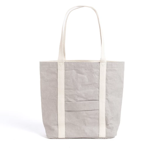 Ella Vegan Leather Washable Paper Tote Bag | Grey