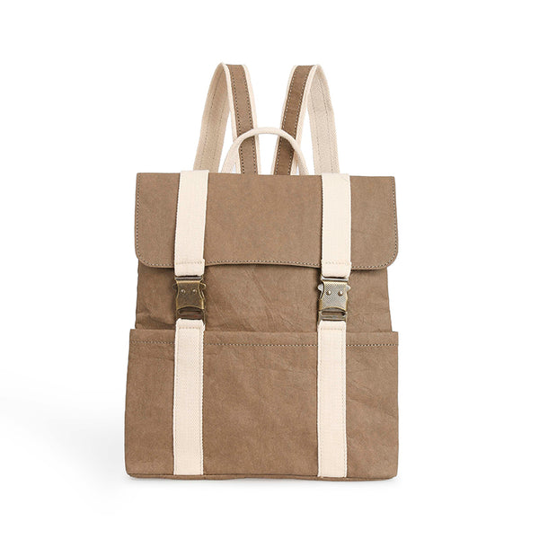 Vegan Washable Paper Satchel Backpack Chocolate Color