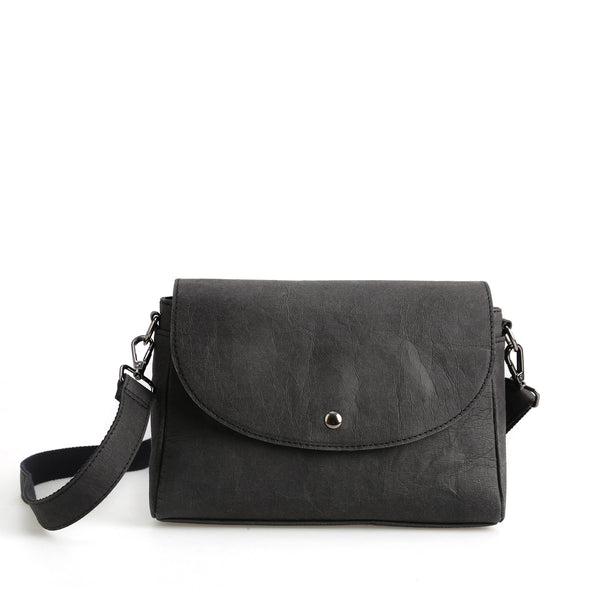 Mary Vegan Leather Crossbody Bag| Black