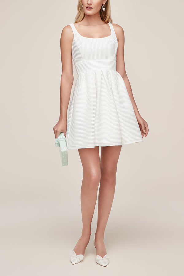 stripped midi little white dress